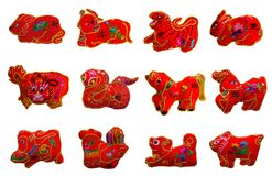 Czerwonego koloru se 12 dwanaście zodiaków ilustracja wektor