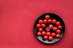 Czerwonego koloru set z karmowym odgórnego widoku egzaminem próbnym up Zdjęcie Royalty Free