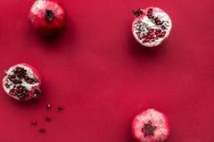 Czerwonego koloru set z karmowym odgórnego widoku egzaminem próbnym up Obraz Royalty Free