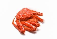 Czerwonego kraba odizolowywający, Alaski królewiątko krab/Gotował parowego lub Gotowanego owoce morza na białym tle obrazy royalty free