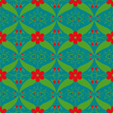 Czerwonego kwiat zieleni liścia wzoru abstrakcjonistyczna graficzna tapeta Obraz Royalty Free