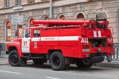 Czerwonego ogienia maszyna w centrum St Petersburg Obraz Stock