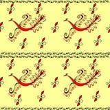 Czerwonego ogienia ptasi czarodziejski pawi bezszwowy wzór Obraz Royalty Free