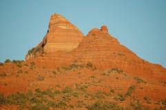 Czerwonego piaskowa halna grań i dolina przy zmierzchem, w Arizona w U S Południowi zachody, w naturalnym świetle zdjęcia royalty free