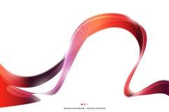 Czerwonego purpury fala lampasa tasiemkowy abstrakcjonistyczny tło, pożarniczy pojęcie, wektorowa ilustracja Obrazy Stock