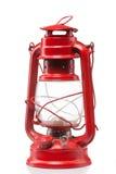 Czerwonego rocznika benzynowa lampa odizolowywająca na bielu obraz royalty free