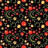 Czerwonego rodzynku kwiecisty wzór w Khokhloma stylu Obraz Royalty Free