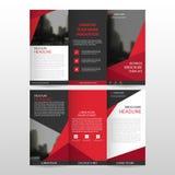 Czerwonego trójbok ulotki broszurki ulotki raportu biznesowego trifold szablonu projekta wektorowy minimalny płaski set, abstrakt ilustracji