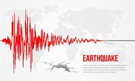 Czerwonego trzęsienia ziemi koszowej i światowej mapy tła Wektorowy ilustracyjny projekt Obrazy Royalty Free