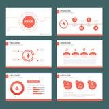 Czerwonego wielocelowego infographic elementu płaski projekt ustawia dla prezentaci Obrazy Stock