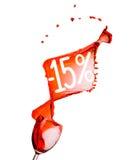 Czerwonego wina pluśnięcie. 15 procentów sprzedaży rabat. Odizolowywający na białych półdupkach Zdjęcie Stock