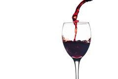 Czerwonego Wina pluśnięcie w szkle Fotografia Stock
