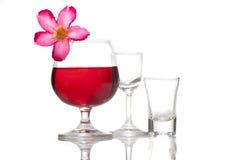 Czerwonego wina szkło nad tłem Obrazy Royalty Free