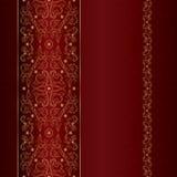 Czerwonego złocistego kwiecistego rocznika bezszwowy wzór Zdjęcie Stock