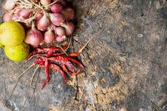 Czerwonej cebuli zieleni cytryna suszył gorącego chili pieprzu Zdjęcia Royalty Free
