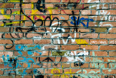 Czerwonej cegły i kiści puszki sztuki etykietki Zdjęcie Royalty Free