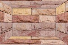 Czerwonej cegły wzoru tło lubi pokój Czerwonej cegły perspektywy styl Zdjęcia Royalty Free