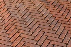 Czerwonej cegły drogowy bruk, tło tekstura Obraz Royalty Free