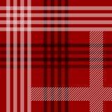 Czerwonej czarny i biały tartan tradycyjnej tkaniny bezszwowy wzór, wektor royalty ilustracja
