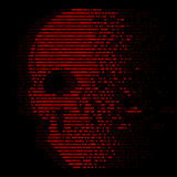 Czerwonej czaszki logiki zero i jeden cyfrowa liczba dla wirusowej ochrony abstrakcjonistycznego wektorowego projekta Zdjęcia Stock