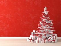 czerwonej drzewa ściany biały xmas