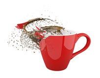 Czerwonej filiżanki kawowa przerwa z udziałami pluśnięcia Obrazy Stock