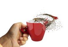 Czerwonej filiżanki kawowa przerwa z udziałami pluśnięcia Zdjęcia Stock
