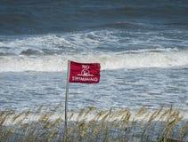 Czerwonej flaga łopotanie w popióle przy oceanem Fotografia Stock