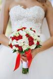 Czerwonej i białej panny młodej bukiet Zdjęcie Royalty Free