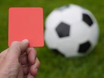 Czerwonej kartki piłka nożna Fotografia Royalty Free