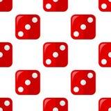 Czerwonej kostka do gry Płaskiej ikony Bezszwowy wzór royalty ilustracja