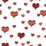 Czerwonej Linii sztuki serc bezszwowy wzór na Białym tle ilustracji