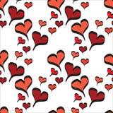 Czerwonej Linii sztuki serca z czerń konturu bezszwowym wzorem ilustracji