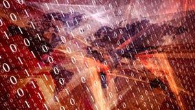 Czerwonej nowej technologii abstrakcjonistyczny pojęcie, oprogramowanie binarny kod Zdjęcia Royalty Free