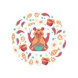 Czerwonej pandy łasowania kluski z chopsticks Latający jedzenie w okręgu składzie Plakat dla chińczyka, japońska kawiarnia royalty ilustracja
