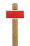 Czerwonej ręcznie malowany prohibicja znaka ostrzegawczego deski metalu horyzontalny signage, biel rama, drewniany słup poczta ko Obraz Stock
