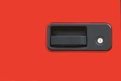 Czerwonej rękojeści samochodowy drzwi obraz stock