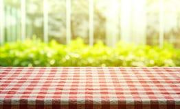 Czerwonej w kratkę tablecloth tekstury odgórny widok z abstrakt zielenią od ogródu zdjęcia royalty free