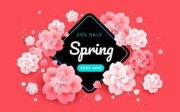 Czerwonej wiosny sprzedaży sztandar z pięknymi kwiatami na czerwonym backgroun ilustracja wektor