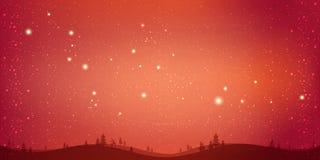 Czerwonej zimy Bożenarodzeniowy tło z krajobrazem, płatek śniegu, światło, gra główna rolę xmas karciany nowy rok royalty ilustracja