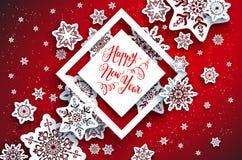Czerwoni świąteczni płatki śniegu background-01 Obrazy Stock