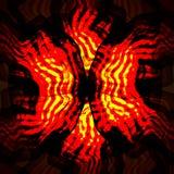 Czerwoni żółci zawijasa fractal elementy na czarnym tle Obrazy Royalty Free