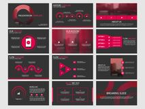 Czerwoni Abstrakcjonistyczni okrąg prezentaci szablony, Infographic elementów szablonu płaski projekt ustawiają dla sprawozdanie  Obraz Royalty Free