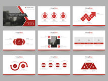 Czerwoni Abstrakcjonistyczni prezentacja szablony, Infographic elementów szablonu płaski projekt ustawiają dla sprawozdanie roczn ilustracji