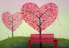 czerwoni ławka stojaki przed czerwonym kierowym drzewem fotografia royalty free