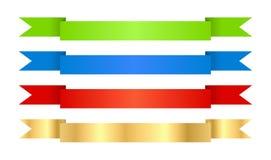 Czerwoni błękitnej zieleni i złota wektorowi faborki z teksturą Obraz Royalty Free
