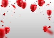 Czerwoni Biali balony, confetti pojęcia projekta szablonu walentynki ` s Szczęśliwy dzień, ilustracja wektor