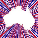 Czerwoni Biali I Błękitni promienie Z sylwetki mapą Australia royalty ilustracja