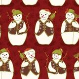 Czerwoni Bożenarodzeniowi Świąteczni zima bałwanu gwiazdy przyjaciele ilustracja wektor