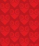 Czerwoni bryły swirly serca na w kratkę tle Zdjęcie Stock
